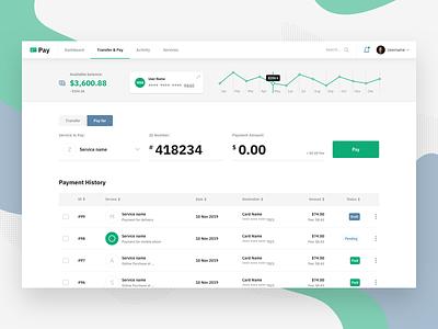 Transfer & Pay design icon finance statistics flat business dashboard web ux ui