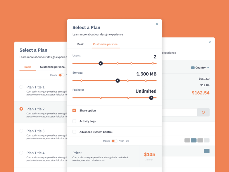 Select A Plan checkout pricing plan select a plan modal forma web ux ui
