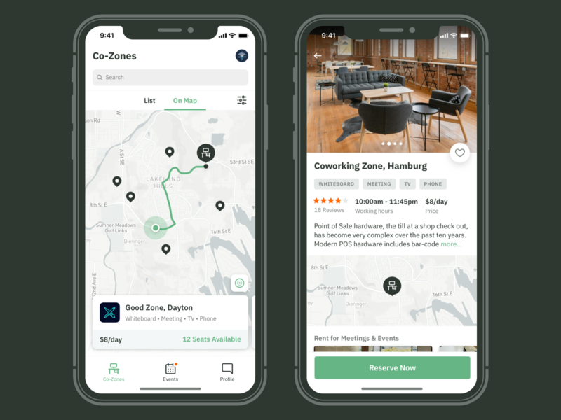 Workspace Details price reserve location map coworking app ios ux ui