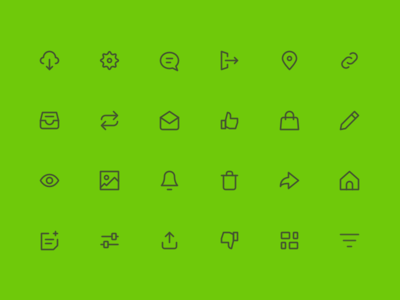 20px Icons notification cloud settinfs message picture download basic icons set icons ui