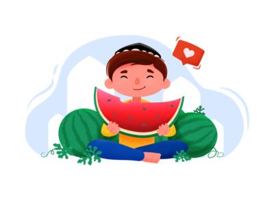 Watermelon sweet hot warm summer watermelon tasty boy character illustration