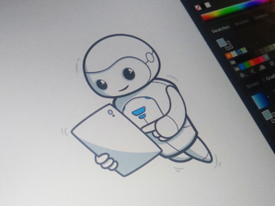 Alfy robo teacher technologies hitech tech experience teacher robot robo character illustration ui