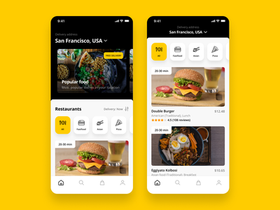 Food Delivery App fastfood yellow restaurant delivery food app design ux ui