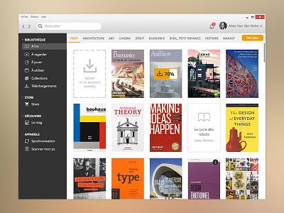 eBbook library ux user interface ui ebook library app desktop windows