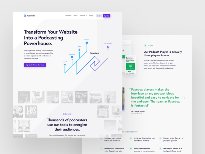Fusebox.fm mockups webdesign design website web modern podcast purple blue clean minimalist white