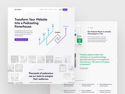 Fusebox.fm mockups webdesign design website web modern podcast purple blue clean minimalist white