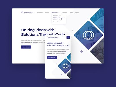 United Codes hero section mobile branding ui design wordpress white minimalist blue