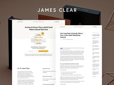 JamesClear.com author personal branding ui typography design wordpress website clean minimalist