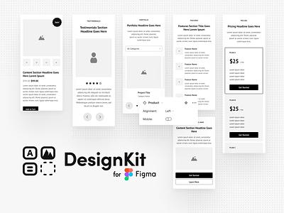 DesignKit minimalist website web uiux ux figma design figma wireframe kit kit wireframes wireframe ui design