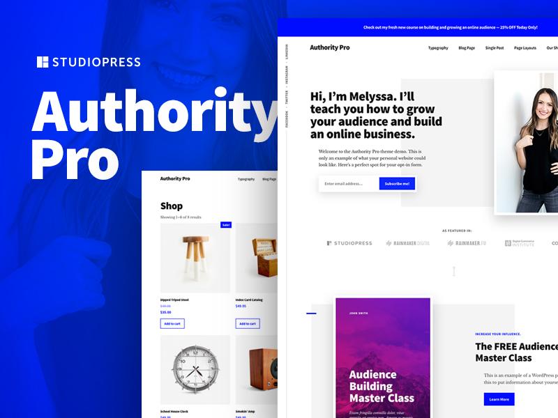 Authority Pro Theme bold blue personal wordpress theme genesis wordpress theme
