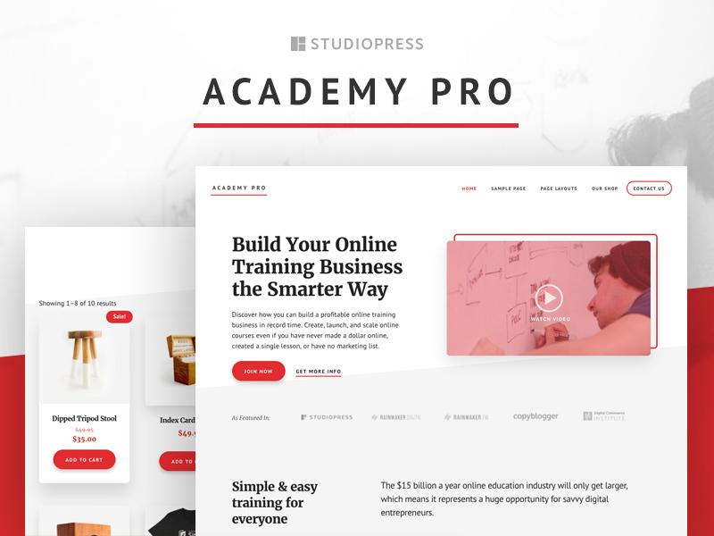 Academy Pro Theme red white course theme wordpress