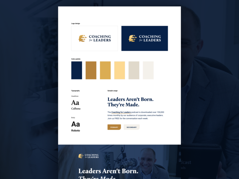 Visual Brand Concept logo branding ui design leaders gold navy color scheme typogaphy visual branding visual brand