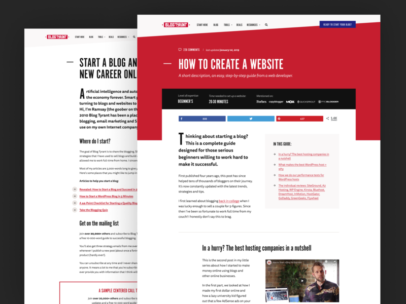 BlogTyrant.com Redesign blog design clean red white wordpress web desgin design blog