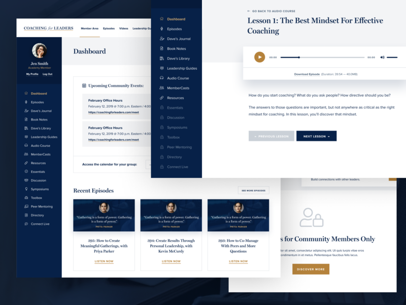 Coaching for Leaders membership dashboard gold navy member area member