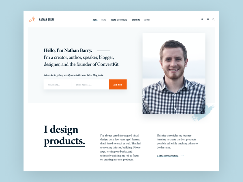 NathanBarry.com landing page home website personal brand personal blog personal orange light blue