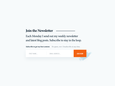 Join the Newsletter clean minimalist sign up form sign up join us newsletter