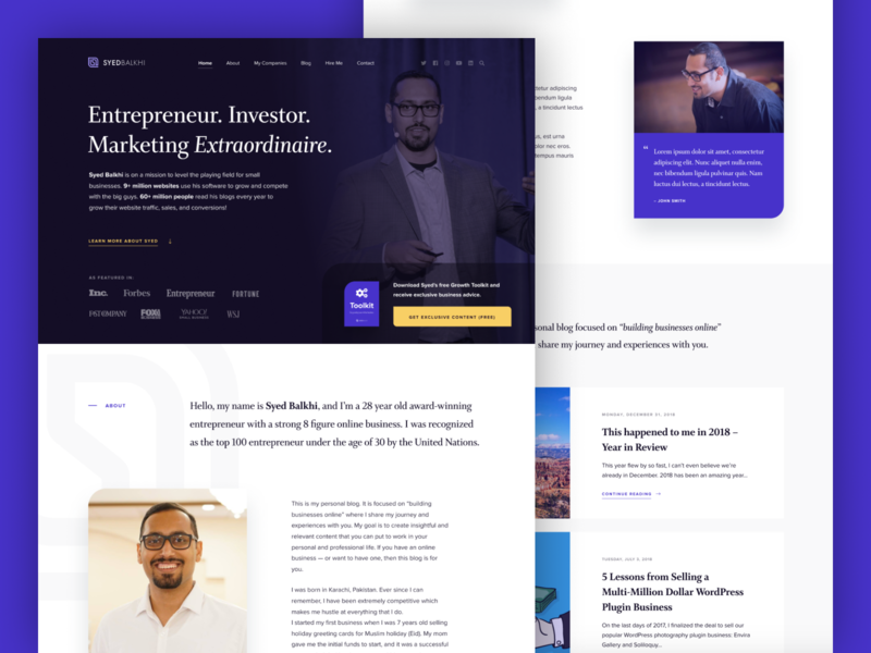 SyedBalkhi.com web purple clean wordpress ui website personal branding personal brand