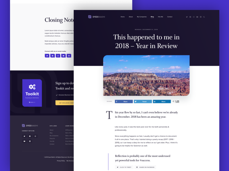 SyedBalkhi.com website purple ui design clean wordpress minimalist blog