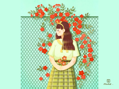 A girl and flowers