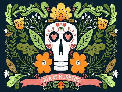 dia de muertos day of the dead flowers illustration skull
