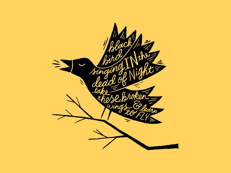 Black Bird lettering bird illustration