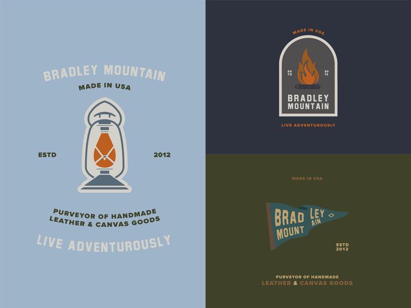 Bradley Mountain Badges illustration minimal flat  design flat illustration flat patch design patches badge logo badge design badge