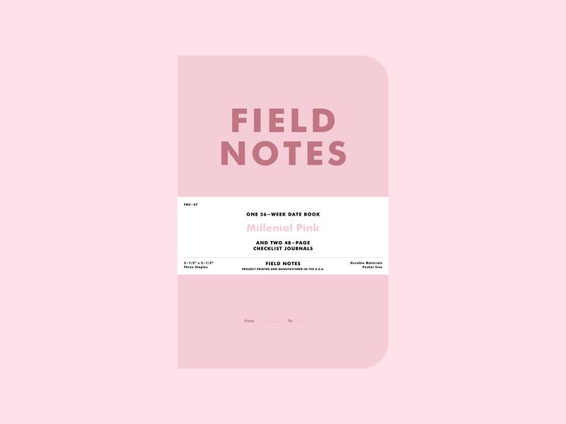 "Field Notes | ""Millennial Pink"" typography illustration minimal flat  design flat flat illustration millenial pink field notes"