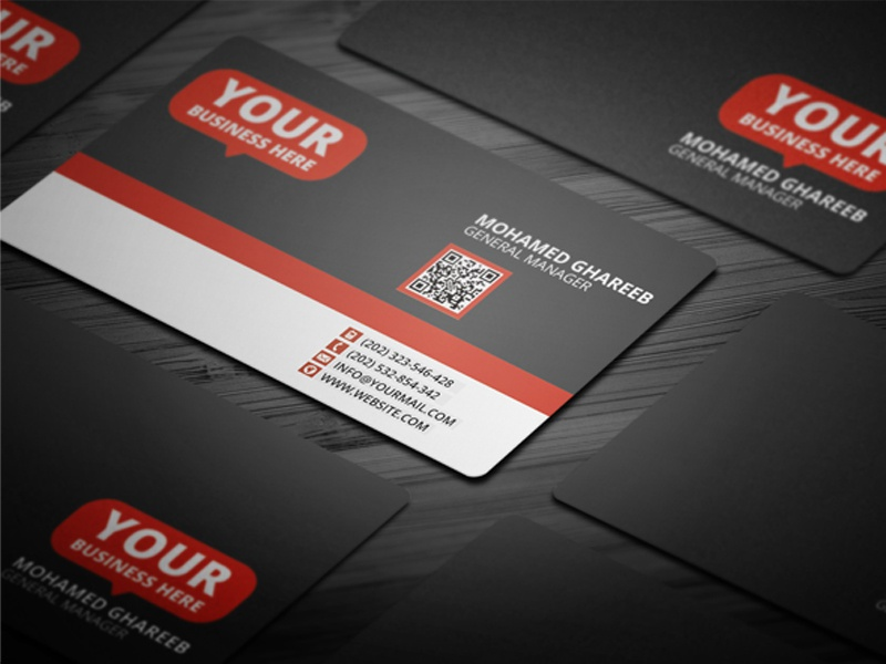 Clean red gray business card by mohamed dribbble reheart Images