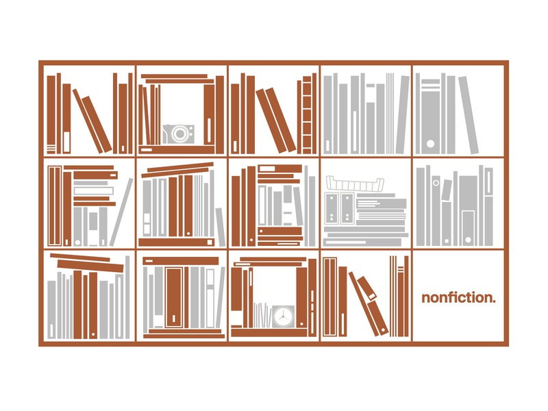 Nonfiction Announcement flat typography branding logo illustration