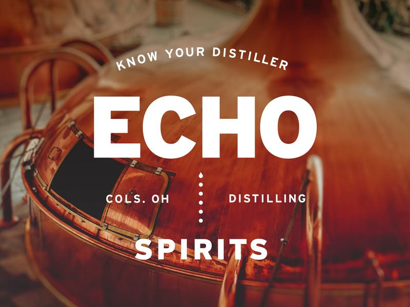Echo Spirits Distilling Identity Elements typography distillery logo logo branding