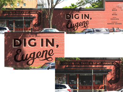 Kiva Grocery Mural signage copywriting illustration typography mural design