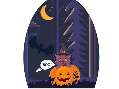 Helloween black boo ночь лес кот дизайн тыква иллюстрация хэллоуин