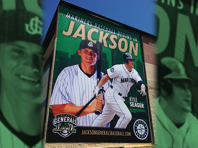 Kyle Seager Banner sports large scale kyle seager milb banner generals jackson mariners seattle baseball