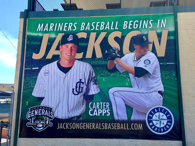 Carter Capps Banner sports large scale carter capps seattle milb mariners jackson generals baseball banner