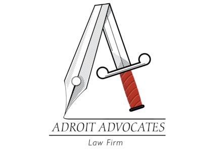 Adroit Advocates Logo advocates logo sword pen letter a law firm