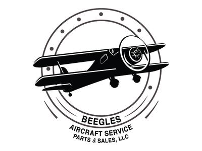 Beegles illustrated circle propeller bi-wing flying service plane airplane logo