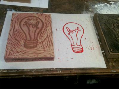 Love + Light Woodcut Print woodcut wood cut block print print ink paper wood love light loveland colorado