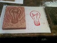 Love + Light Woodcut Print