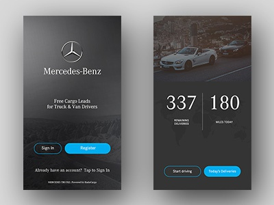Mercedes Benz welcome register in sign map drivers truck car benz mercedes app mobile