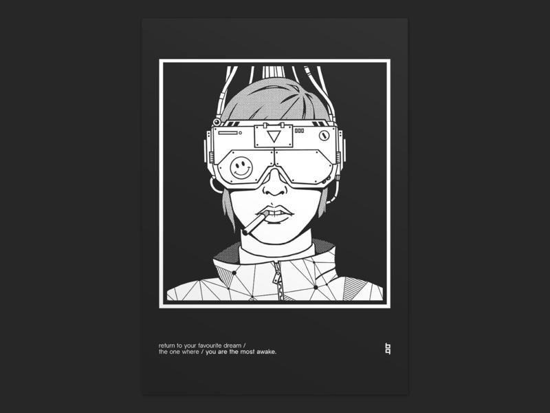 Awake poster screen print layout illustration graphic  design