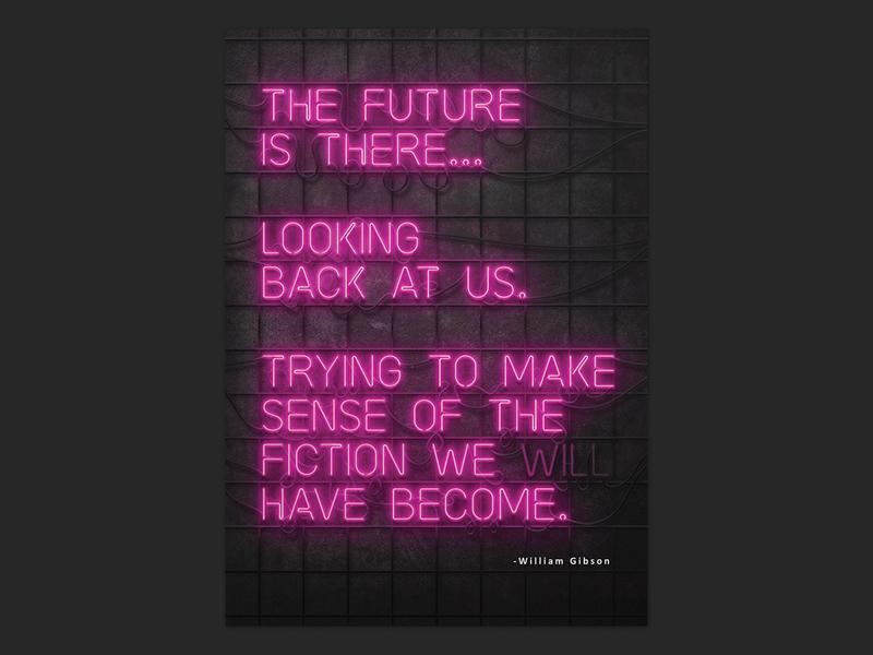 Cyberpunk quote - neon artwork neon poster typograhy graphic  design