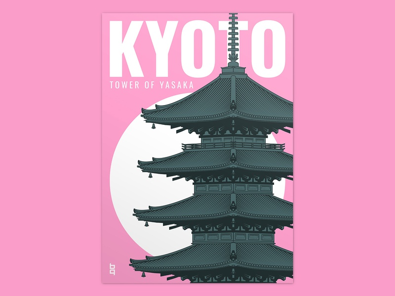 Tower of Yasaka - Kyoto typogaphy post card briefbox poster layout illustration graphic  design