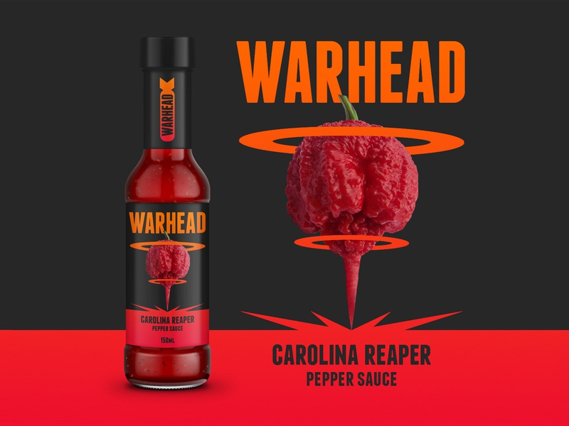 Warhead: Carolina Reaper pepper sauce briefbox product design product branding design branding graphic  design