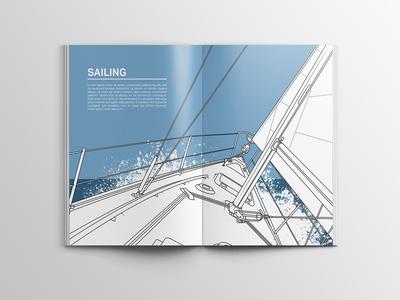 Sailing illustration for hobby book