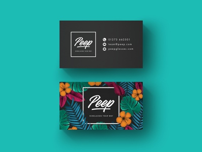 Peep - Business card graphic  design pattern floral briefbox branding brand and identity