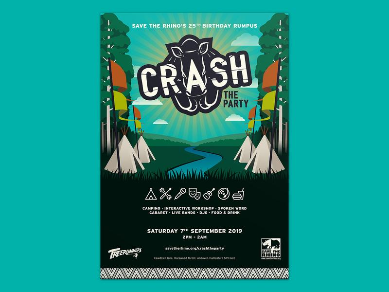 Crash The Party - Poster poster logo typogaphy illustration layout branding graphic  design