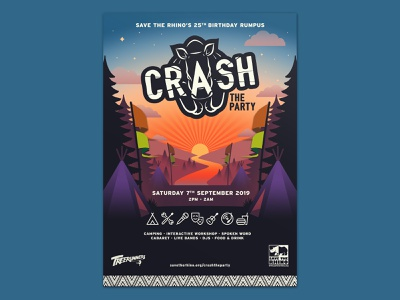 Crash the Party - Poster (unused illustration) poster logo illustration typogaphy layout branding graphic  design