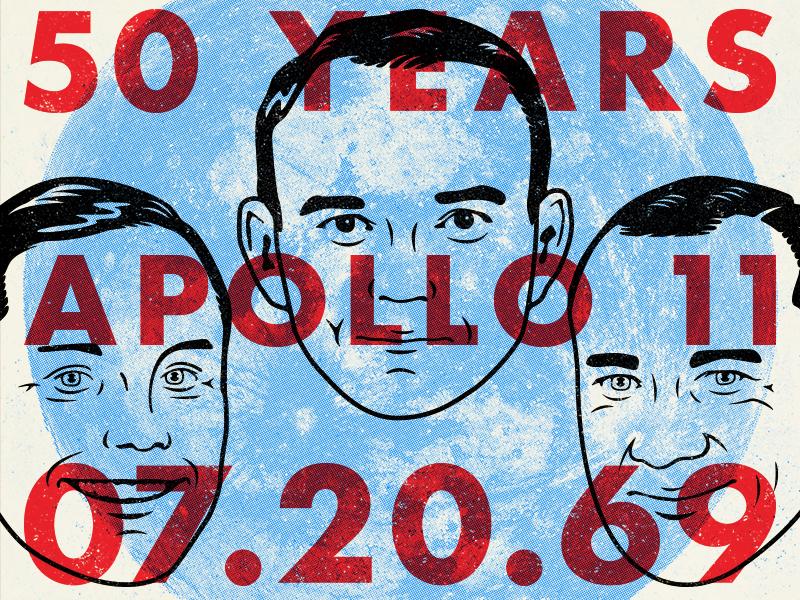 Apollo 11 - 50th Anniversary moon landing apollo 11 type retro supply co retro portrait french design illustration design character artwork art