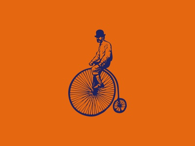 Guy On Penny Farthing penny farthing vintage icon graphic design