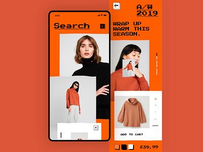 Fashion App Concept concept ui app font bitmap effect distort fashion